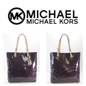 Michael Kors Purple Buckle Patent Leather Tote